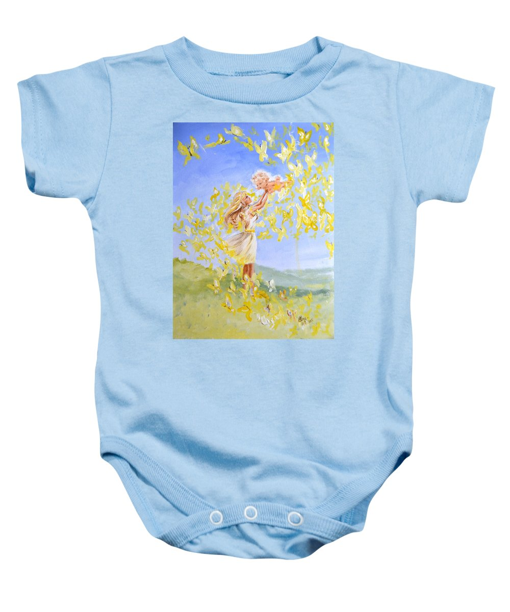 Mother Baby Onesie featuring the painting Love's Flight by Katerina Naumenko