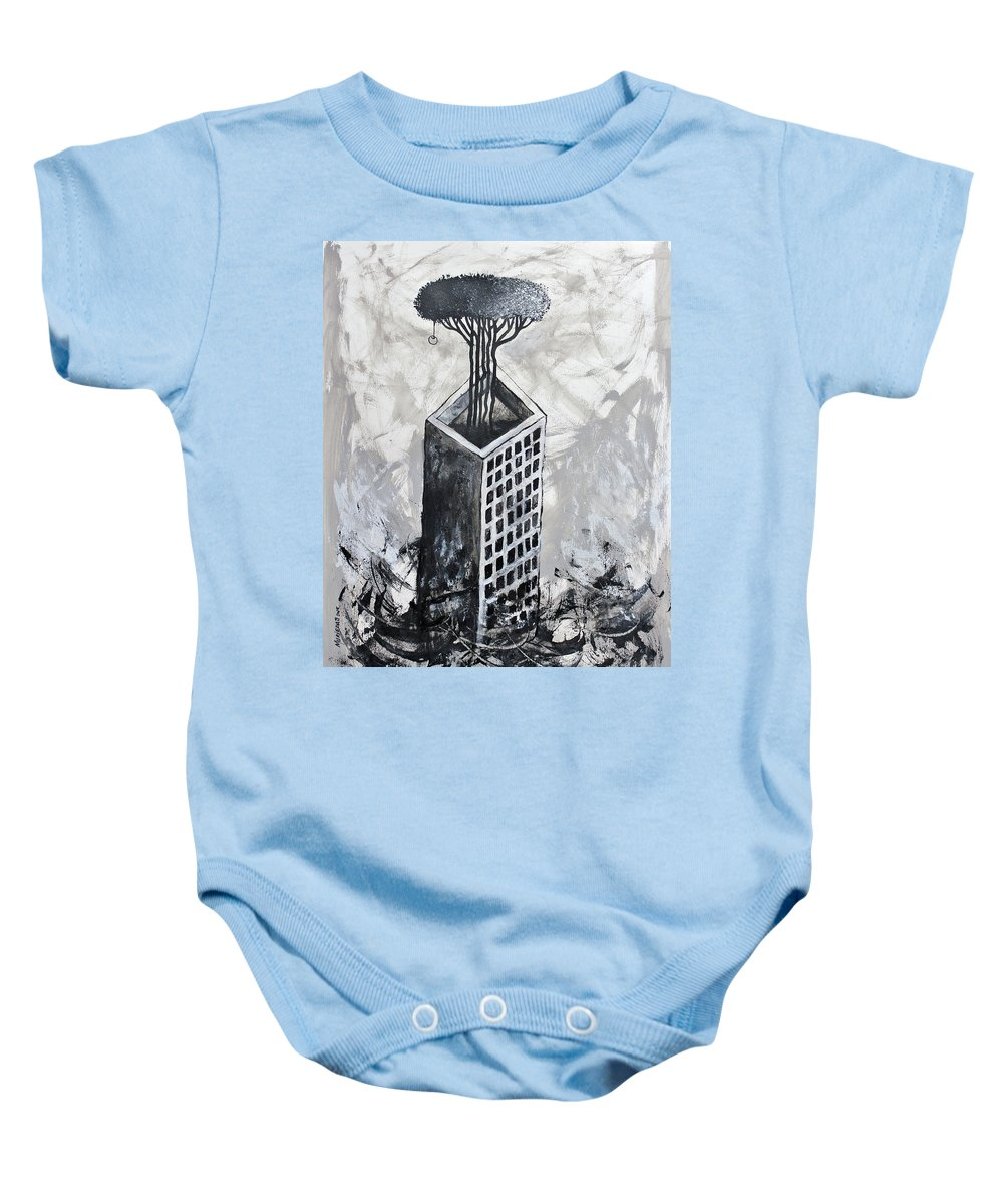 Abstract Surrealist Baby Onesie featuring the painting Lucky by Lorenzo Muriedas
