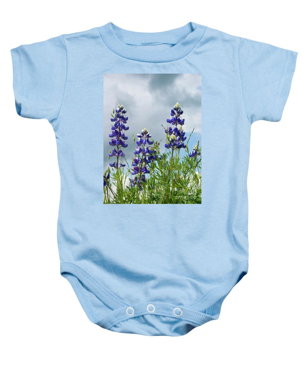 Lupine Baby Onesie featuring the photograph Lupines Against The Sky by Jim And Emily Bush