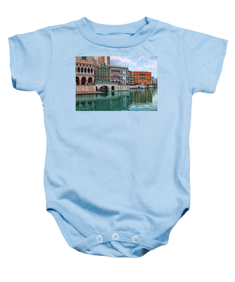 Venetian Baby Onesie featuring the photograph Macau China Attractions by Sergey Nosov
