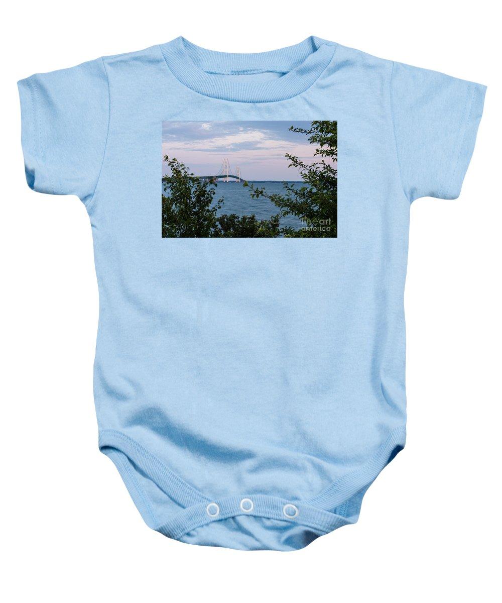Mackinac Baby Onesie featuring the photograph Mackinac Bridge 1 by Wesley Farnsworth