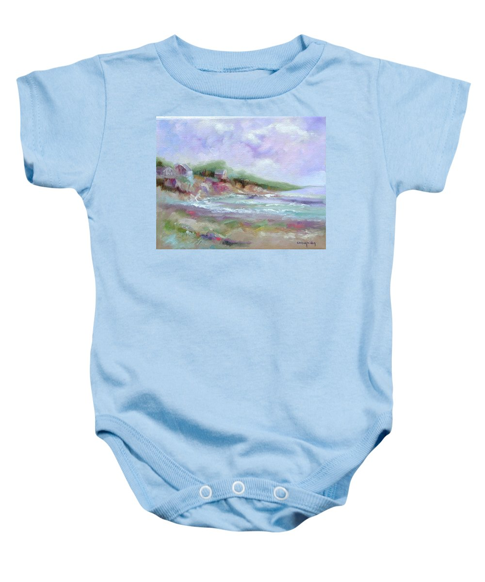 Maine Coastline Baby Onesie featuring the painting Maine Coastline by Ginger Concepcion