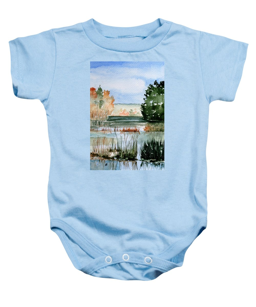 Watercolor Baby Onesie featuring the painting Maine Fall Reflections by Brenda Owen