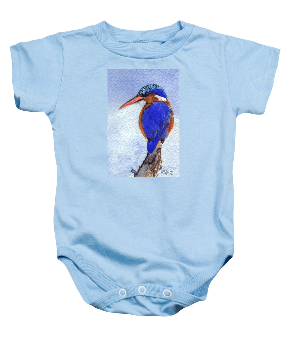 Bird Baby Onesie featuring the painting Malachite Kingfisher by Lynn Quinn