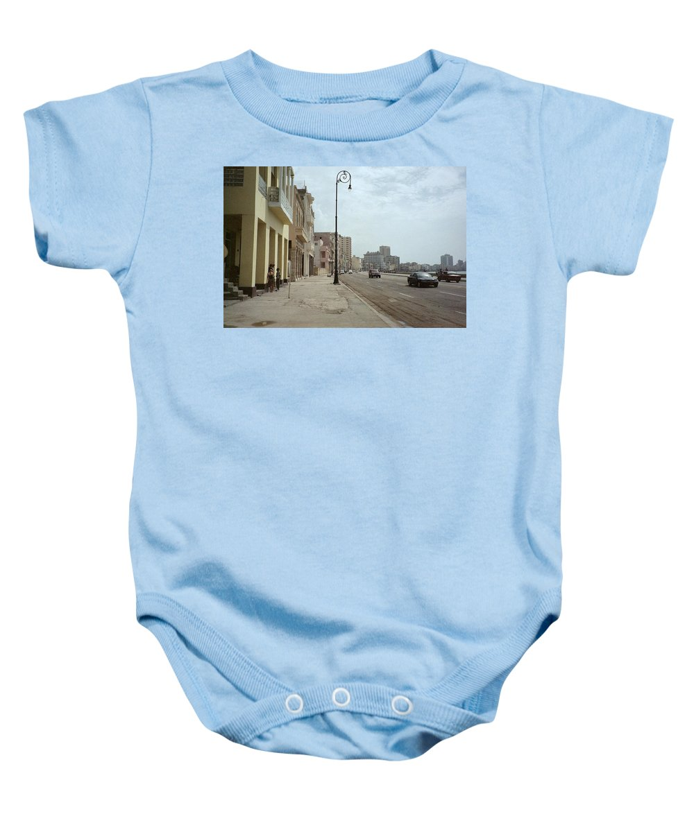 Quin Sweetman Baby Onesie featuring the photograph Malecon En Havana by Quin Sweetman