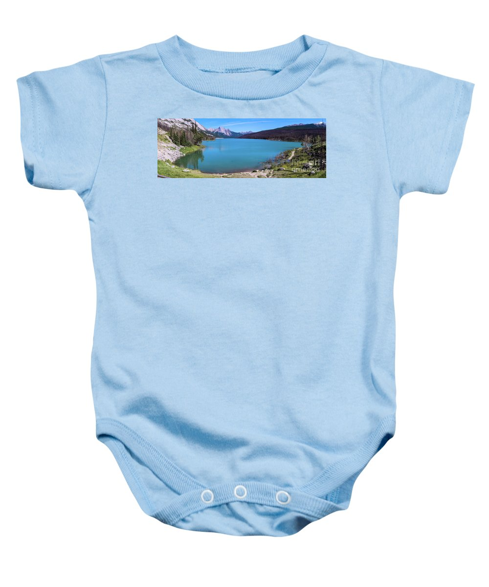 Nature Baby Onesie featuring the photograph Maligne Lake by Josephine Cleopahrt