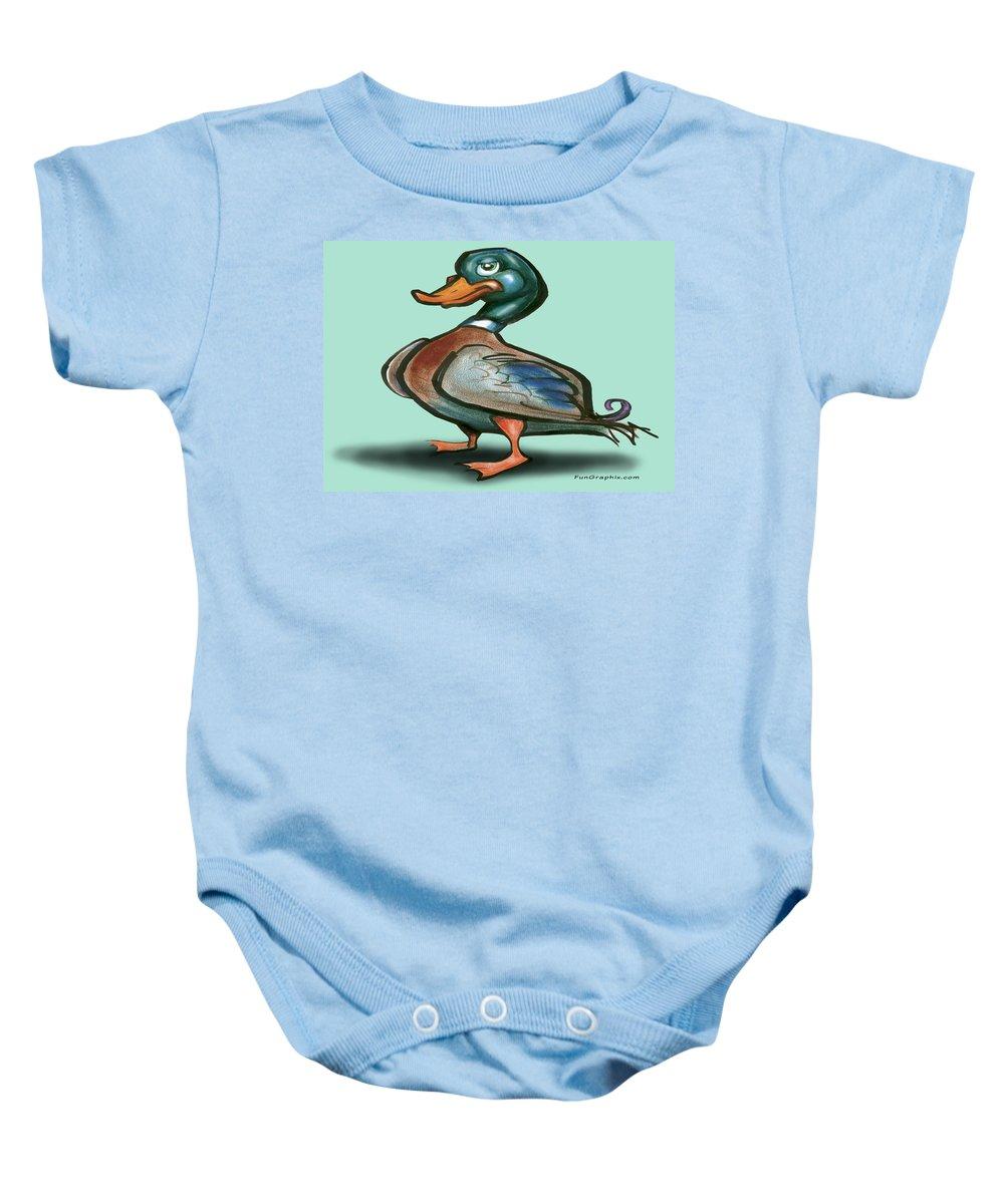 Duck Baby Onesie featuring the digital art Mallard Duck by Kevin Middleton