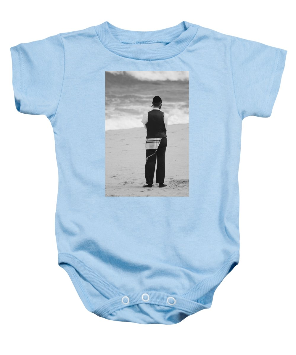 Black And White Baby Onesie featuring the photograph Man And The Sea by Rob Hans