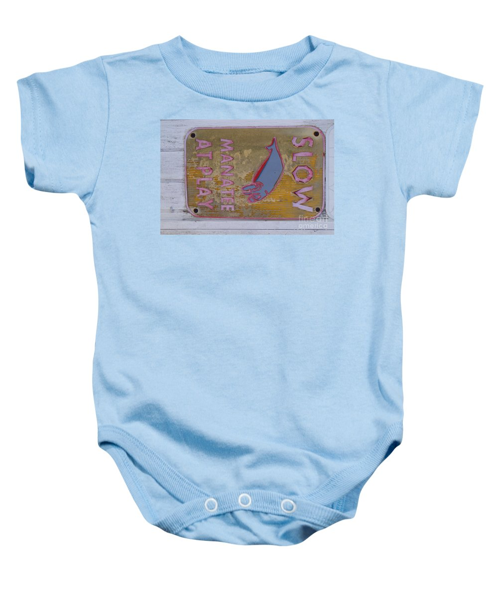 Manatee Baby Onesie featuring the photograph Manatee At Play by Jason Lowe