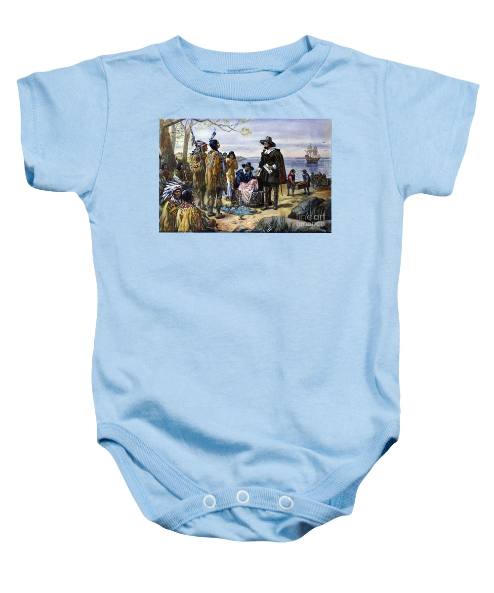 1626 Baby Onesie featuring the photograph Manhattan Purchase, 1626 by Granger