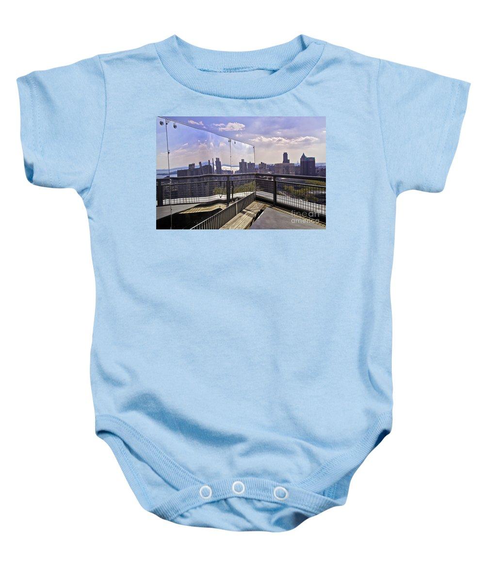 Manhattan Baby Onesie featuring the photograph Manhattan Reflections by Madeline Ellis