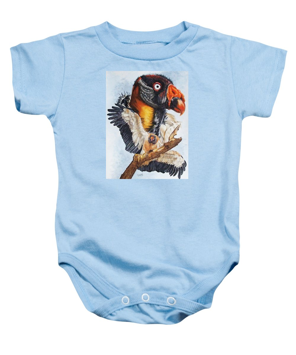 Vulture Baby Onesie featuring the mixed media Marauder by Barbara Keith
