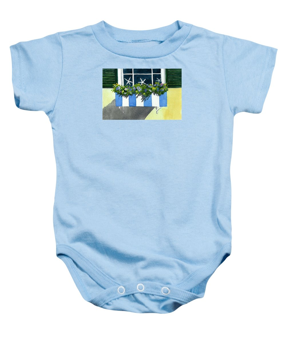 Planter Box Baby Onesie featuring the painting Marblehead Planter Box by Anne Marie Brown