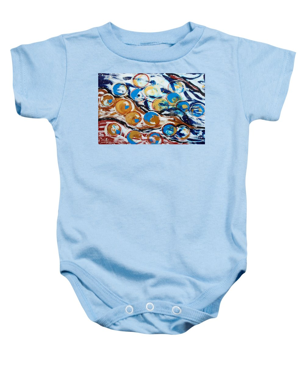 Marbles Baby Onesie featuring the painting Marbles Of Life by Gina De Gorna