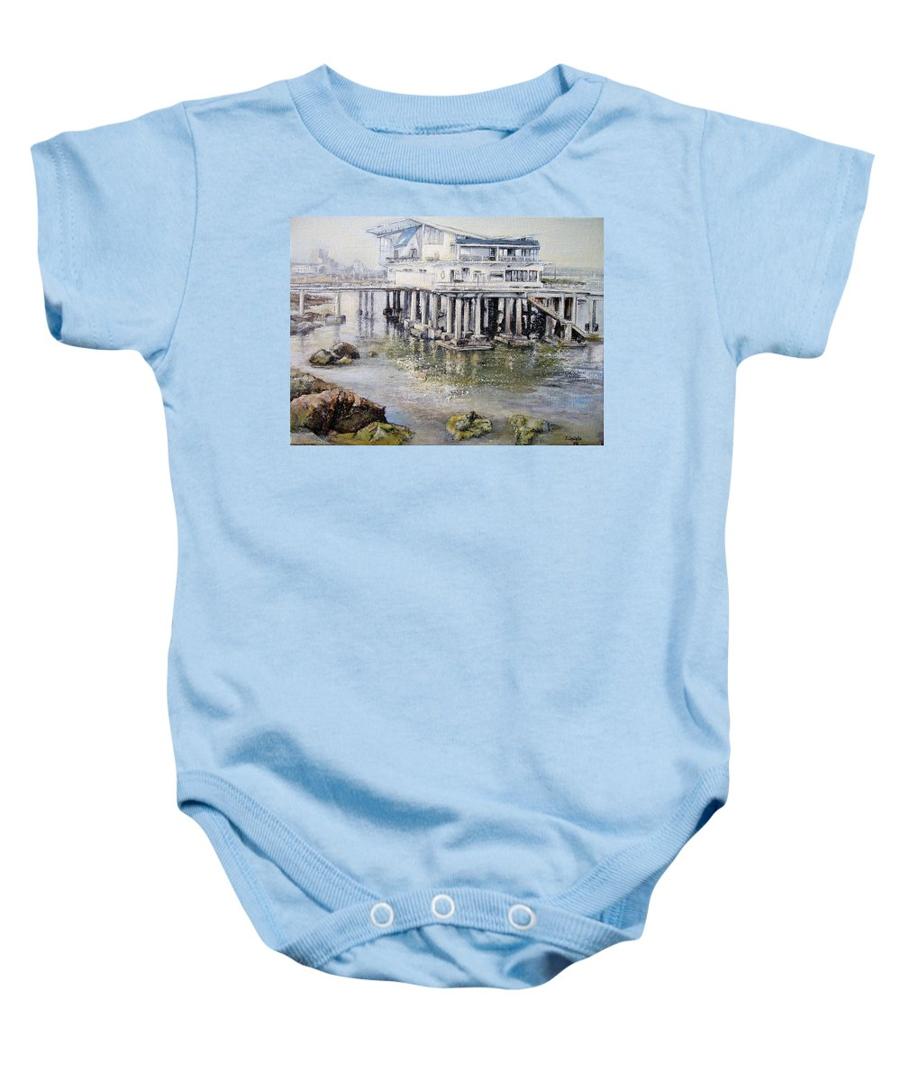 Maritim Baby Onesie featuring the painting Maritim Club Castro Urdiales by Tomas Castano