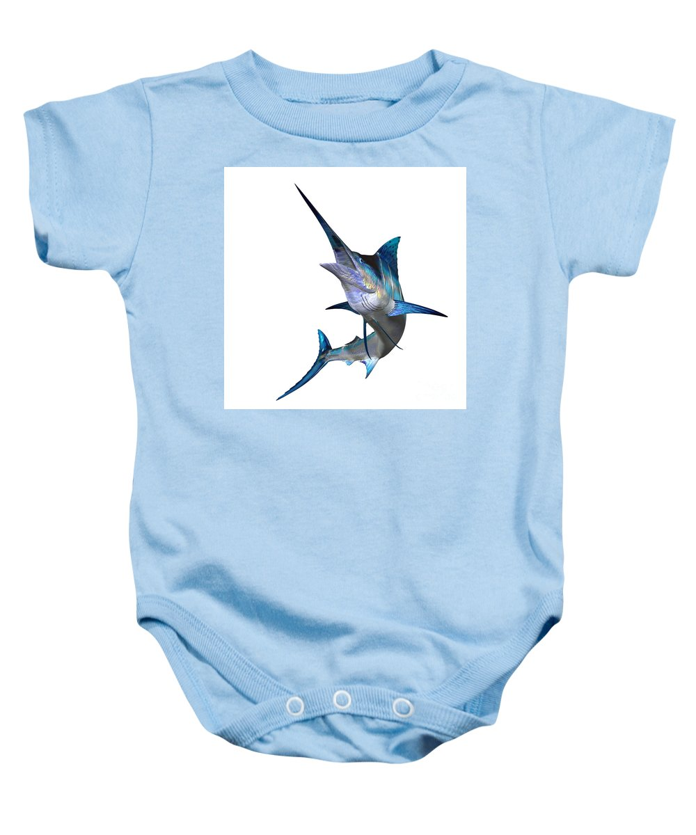 Marlin Baby Onesie featuring the painting Marlin Profile by Corey Ford