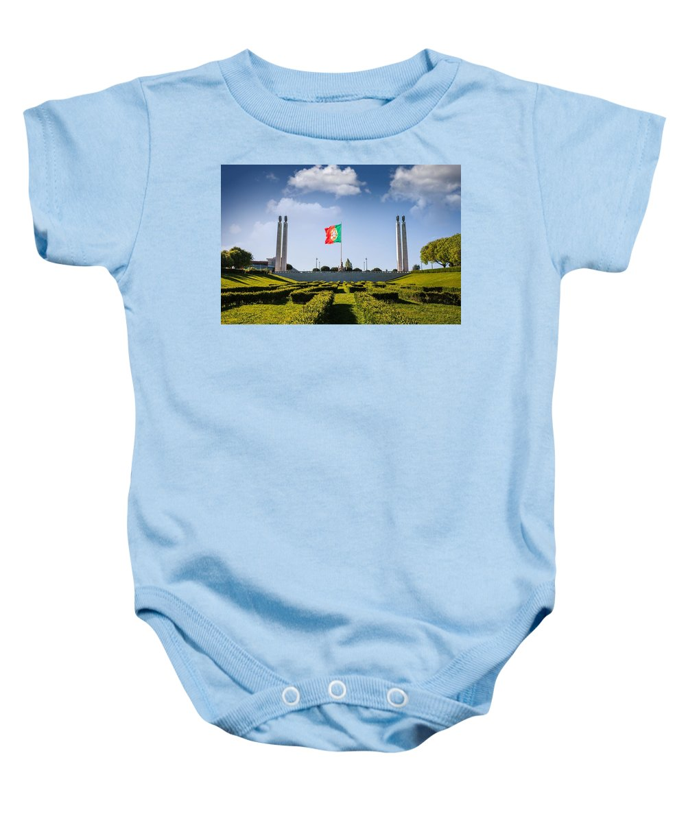Column Baby Onesie featuring the photograph Marques De Pombal Gardens In Lisbon by Leonardo Patrizi