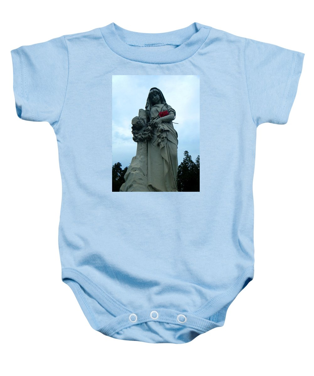 Mary Baby Onesie featuring the photograph Mary by April Patterson