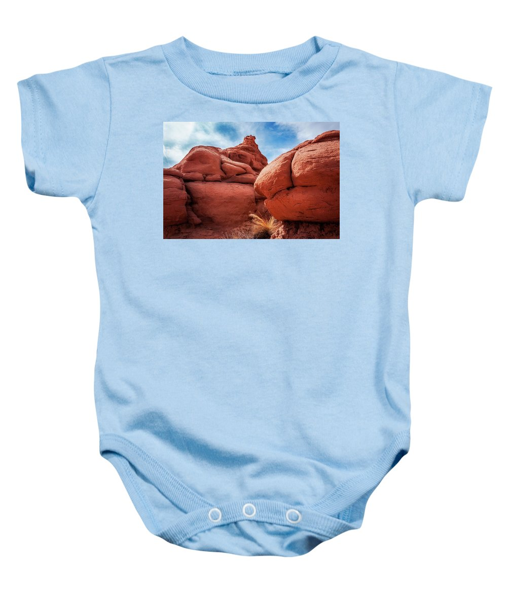 American Southwest Baby Onesie featuring the photograph Massive Boulders At Kodachrome Park by Daniela Constantinescu