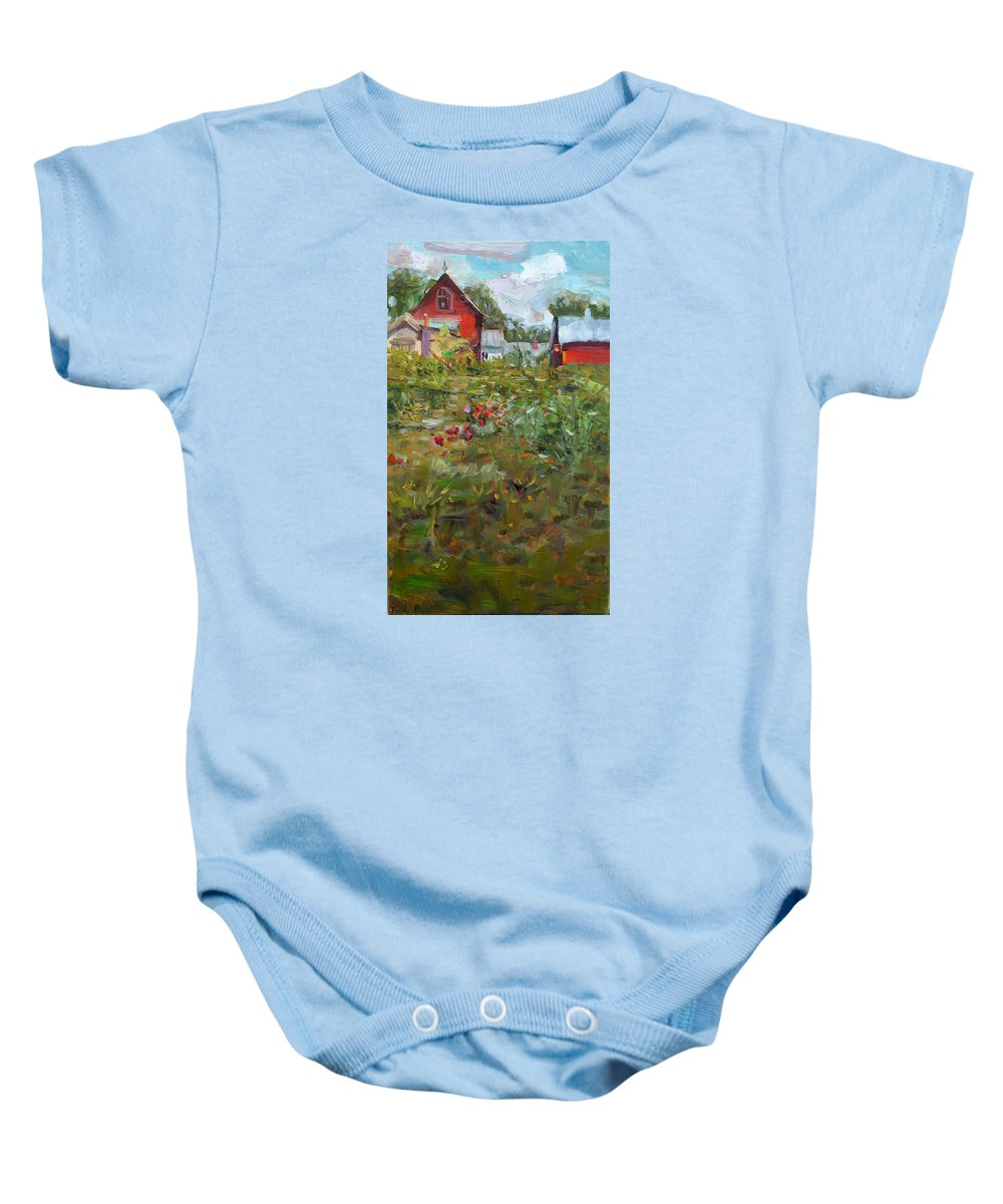 Landscape Baby Onesie featuring the painting May by Elena Sokolova
