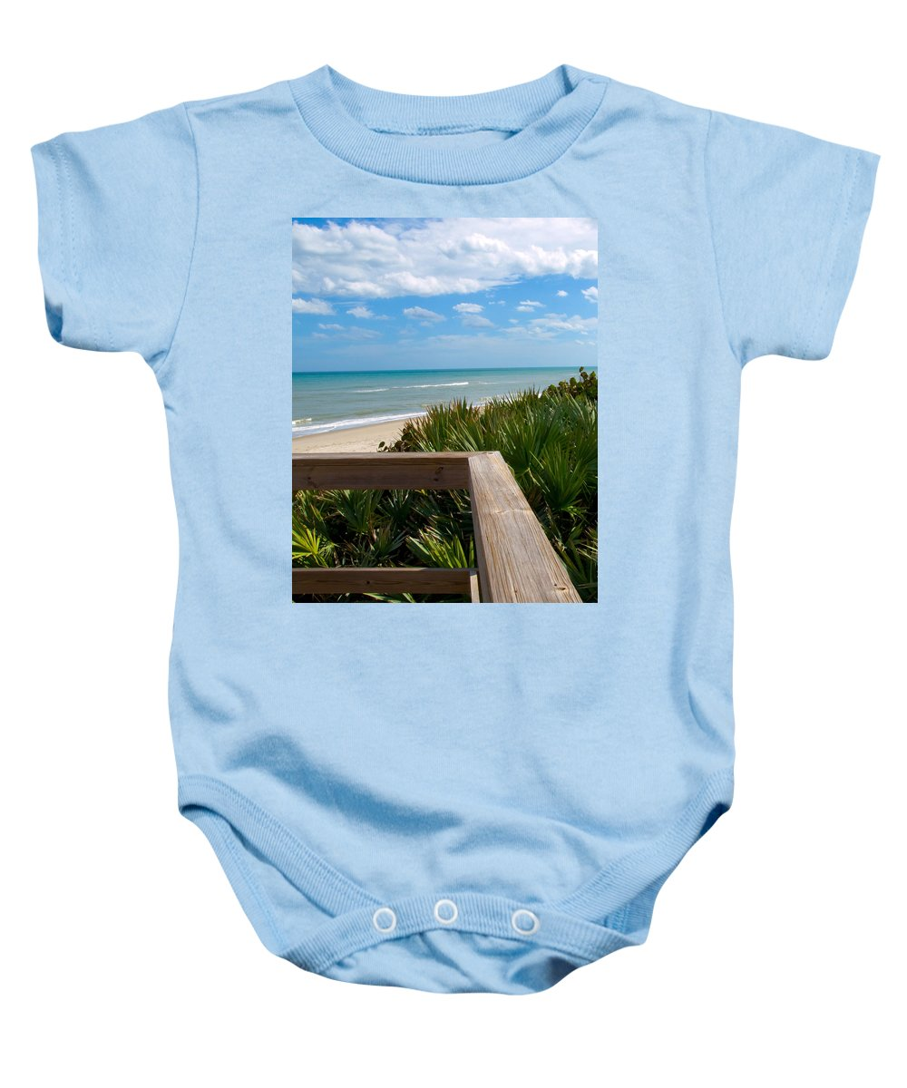 Beach; February; Florida; Warm; Warmth; Temperature; Degrees; Weather; Sun; Melbourne; Sand; Shore; Baby Onesie featuring the photograph Melbourne Beach In Florida by Allan Hughes
