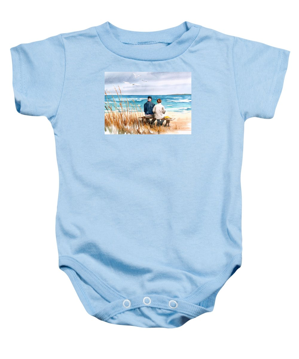 Couple On Beach Baby Onesie featuring the painting Memories by Art Scholz