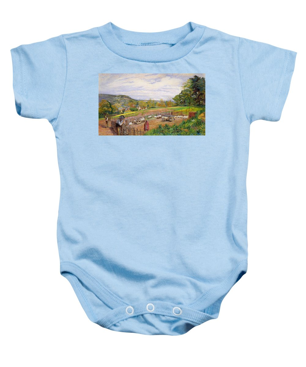 Mending Baby Onesie featuring the painting Mending The Sheep Pen by William Henry Millais