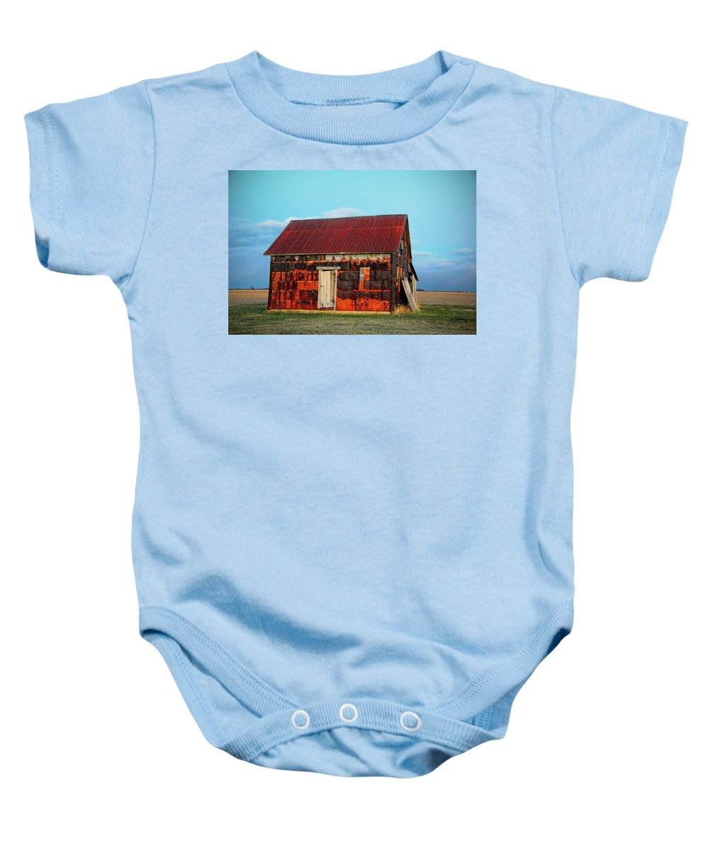 House Baby Onesie featuring the photograph Metal House by David Arment