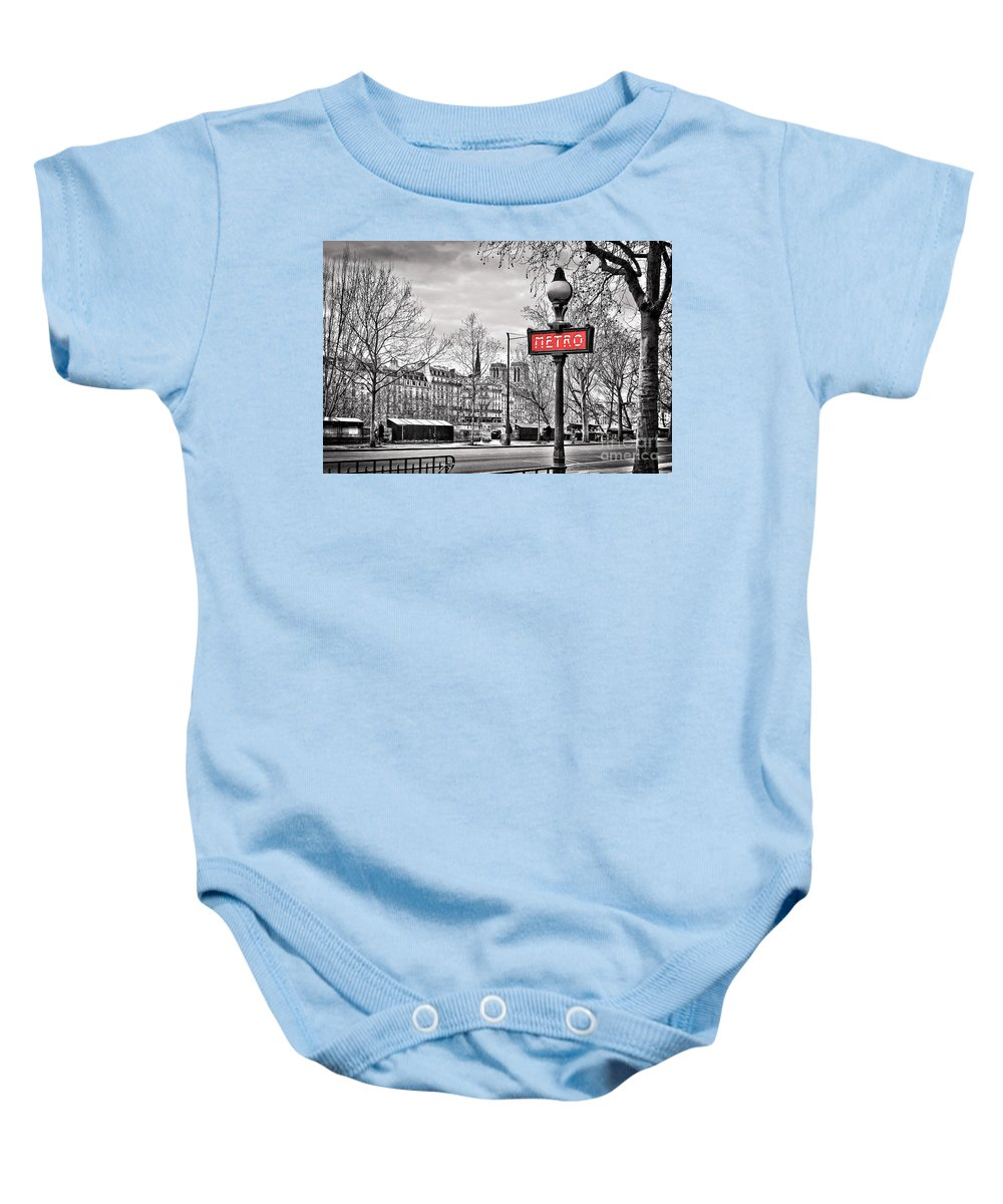 Paris Baby Onesie featuring the photograph Metro Pont Marie by Delphimages Photo Creations