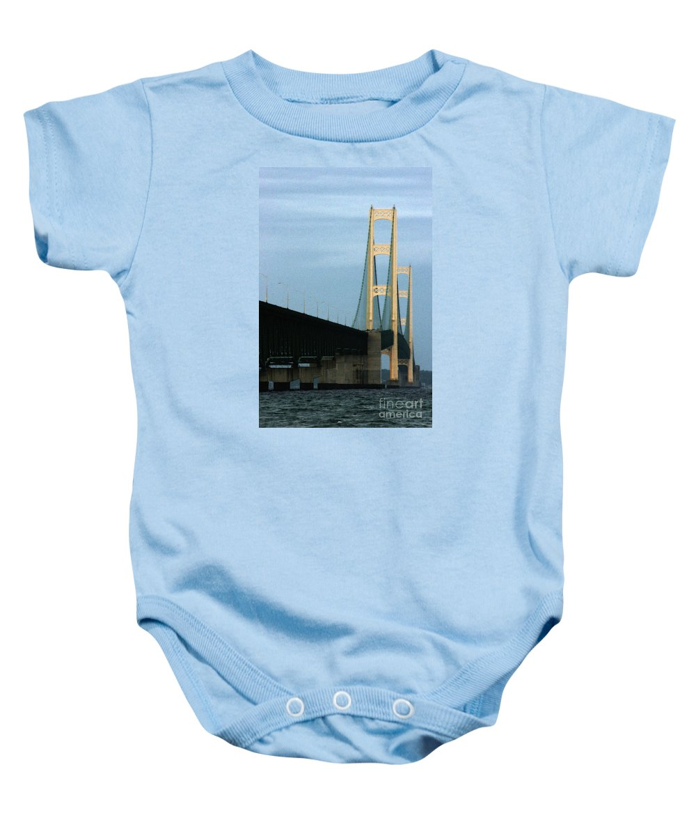 Bridge Baby Onesie featuring the photograph Mighty Mac by Linda Shafer