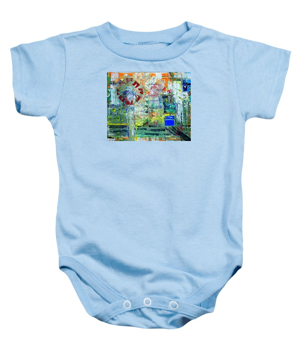 Abstract Baby Onesie featuring the painting Milton Place by J R Seymour