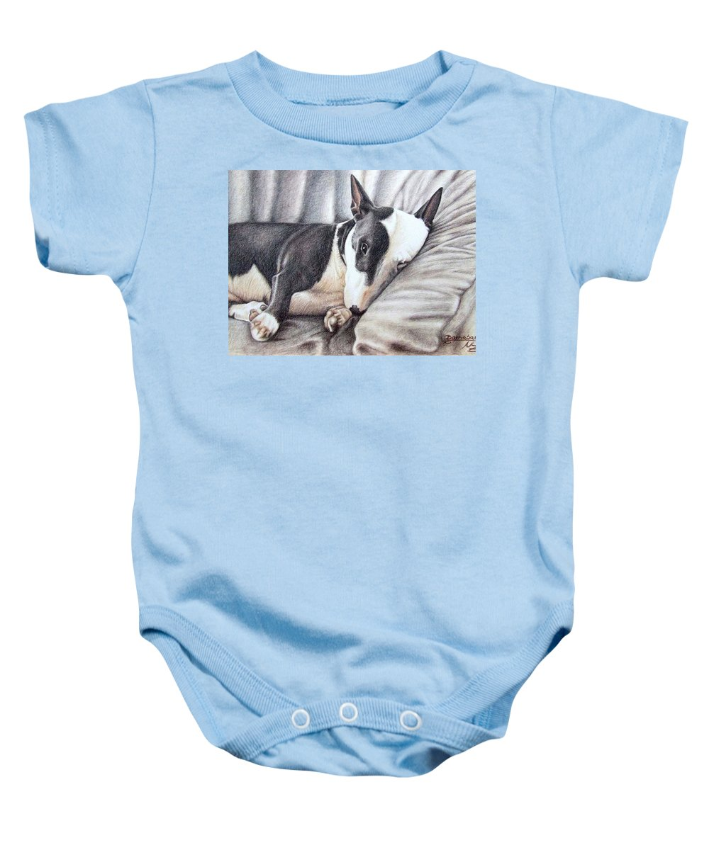 Dog Baby Onesie featuring the drawing Mini Bulldog Terrier by Nicole Zeug