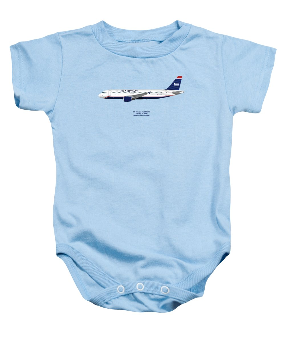 Miracle On The Hudson Baby Onesie featuring the digital art Miracle On The Hudson - Us Airways A320 - Blue Version by Steve H Clark Photography