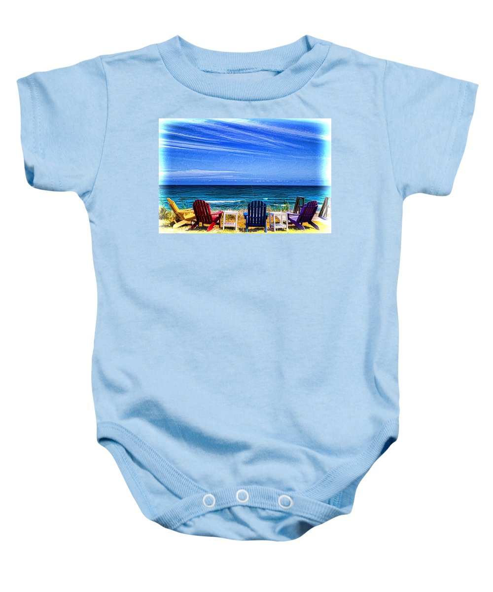 Beach Scene Baby Onesie featuring the photograph Pre-viewing  Seats Available by Dennis Baswell