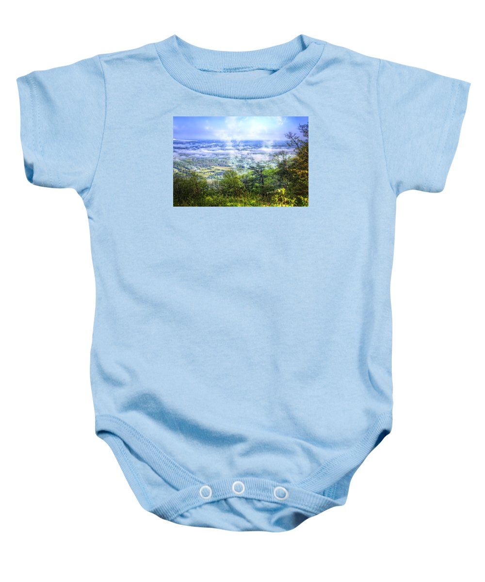 Appalachia Baby Onesie featuring the photograph Mists In The Valley by Debra and Dave Vanderlaan
