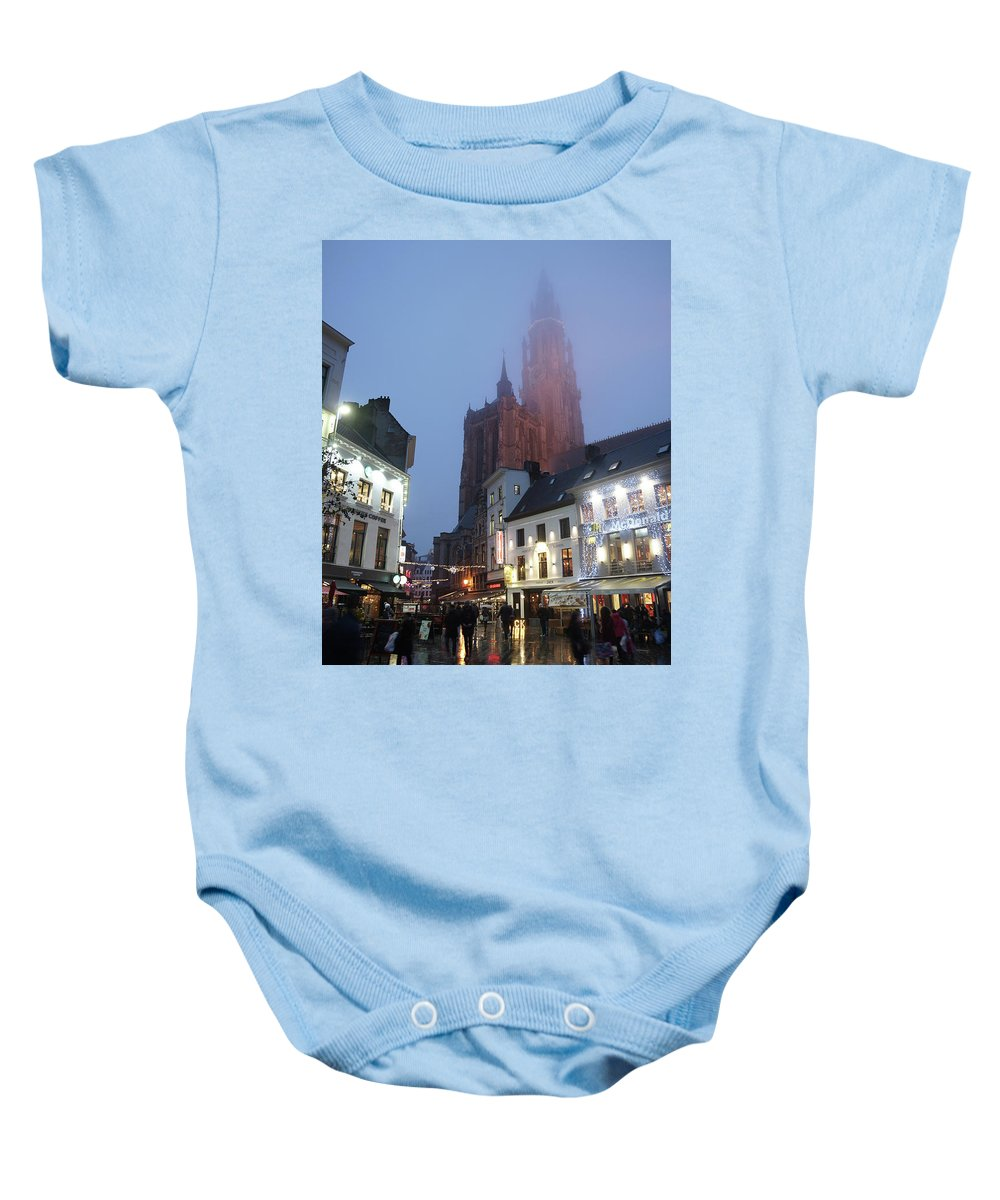 Cathedral; Misty Baby Onesie featuring the photograph Misty Cathedral by Erik Tanghe