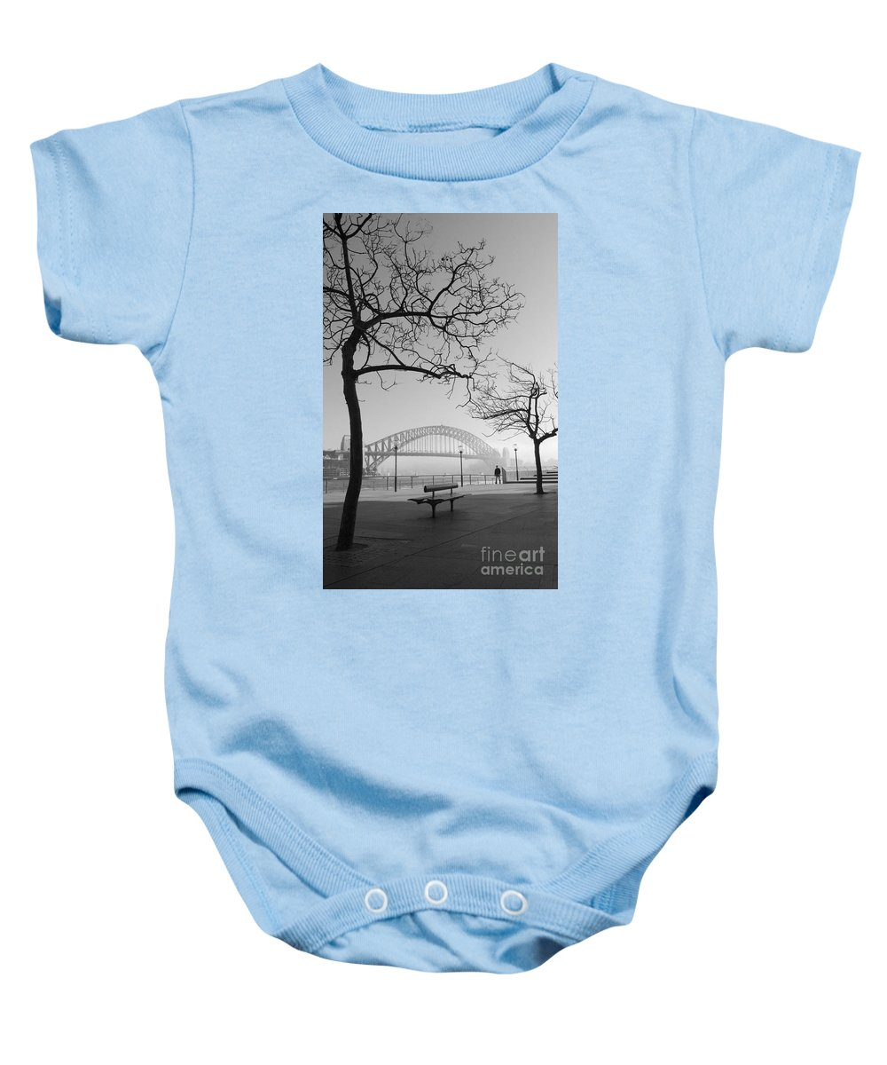 Sydney Harbour Bridge Mist Australia Baby Onesie featuring the photograph Misty Sydney Morning by Sheila Smart Fine Art Photography