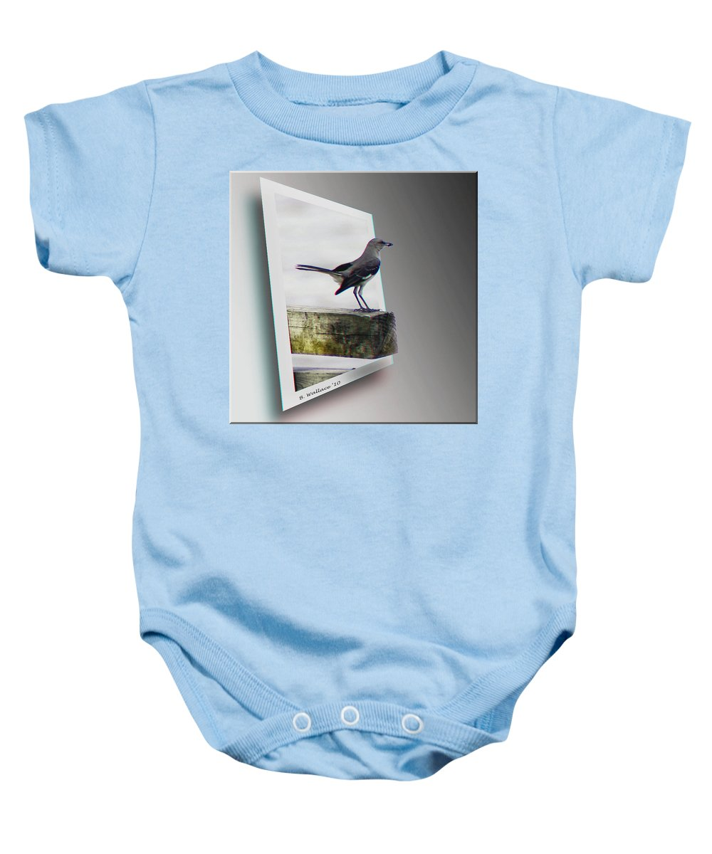 3d Baby Onesie featuring the photograph Mockingbird - Use Red-cyan 3d Glasses by Brian Wallace