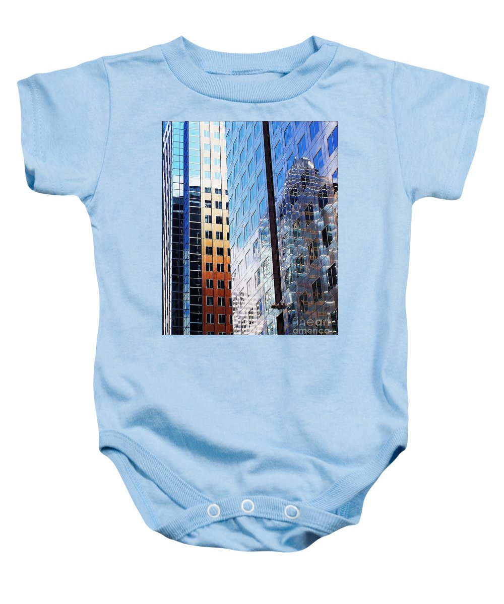 Architectural Abstract Baby Onesie featuring the photograph Modern Montreal by Anne McDonald