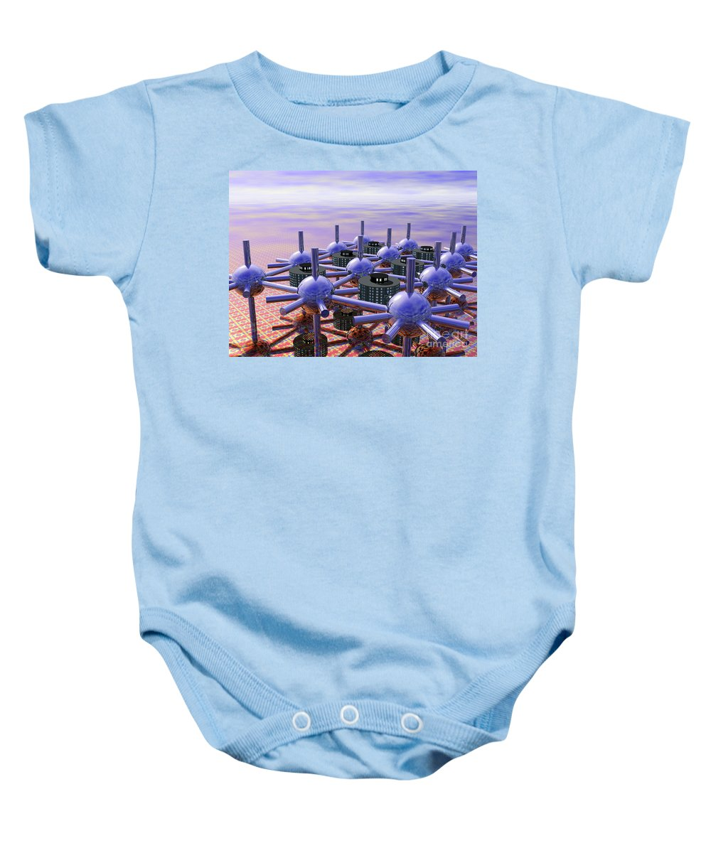 3d Baby Onesie featuring the digital art Modular City by Nicholas Burningham