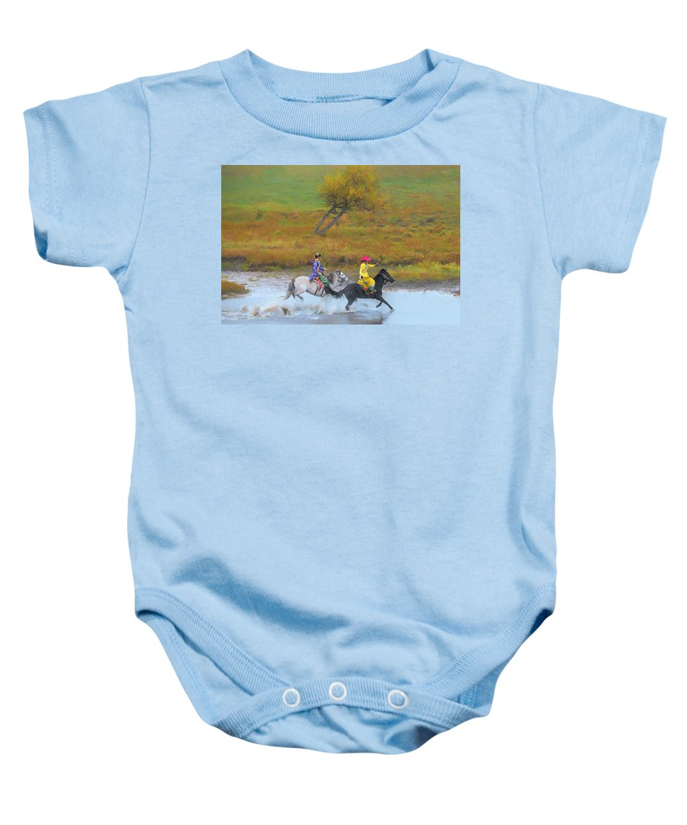 Inner Mongolia Baby Onesie featuring the photograph Mongolian Rider by Kok Siong Tan