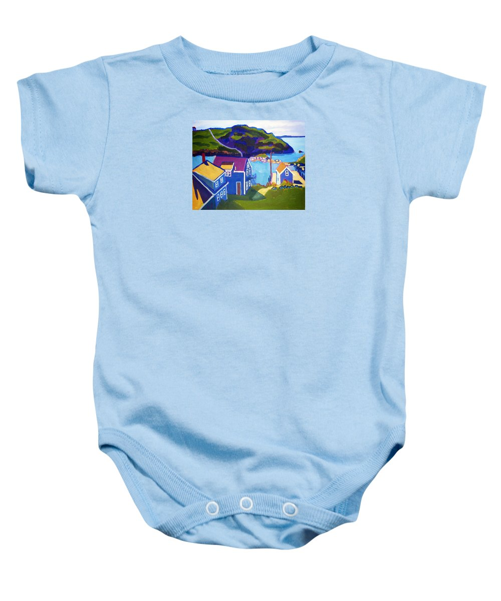Seascape Baby Onesie featuring the painting Monhegan Harbor by Debra Bretton Robinson