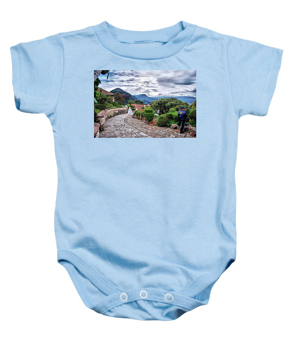 Monserrate Baby Onesie featuring the digital art Monserrate - Colombia by Galeria Trompiz