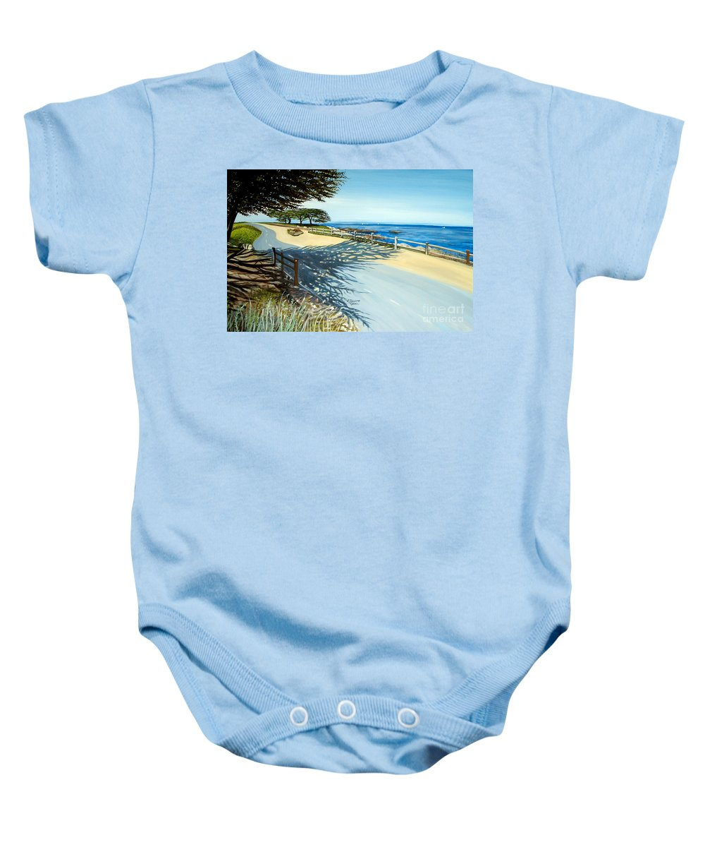 Landscape Baby Onesie featuring the painting Monterey Shadows by Elizabeth Robinette Tyndall