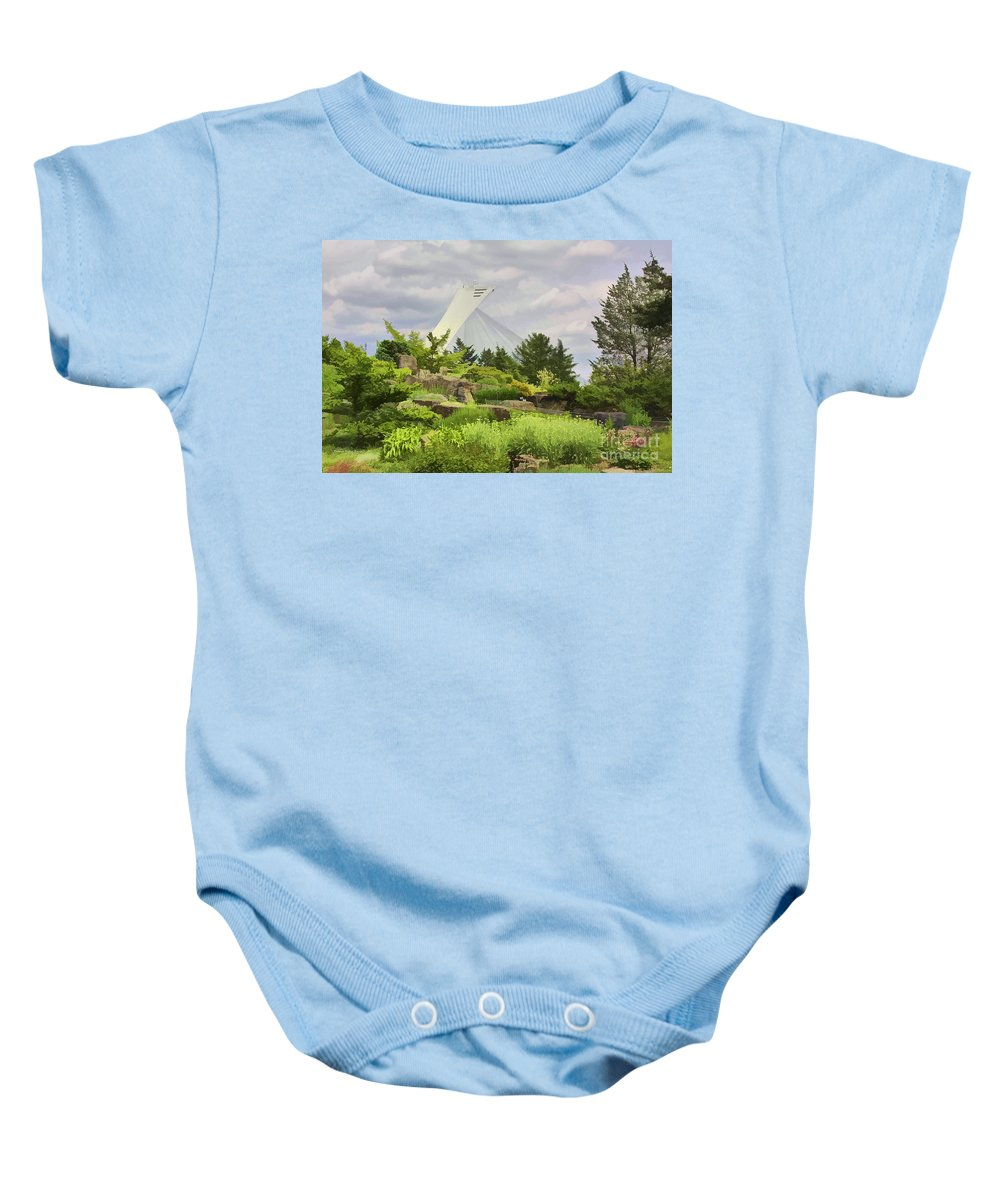 Montreal Baby Onesie featuring the photograph Montreal Biodome Backdrop by Deborah Benoit