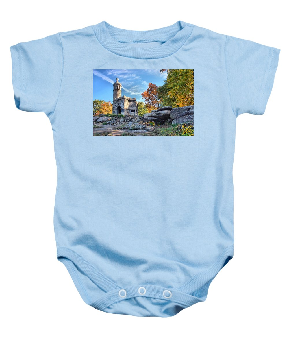 Gettysburg Baby Onesie featuring the photograph Monument To The 44th by DJ Florek