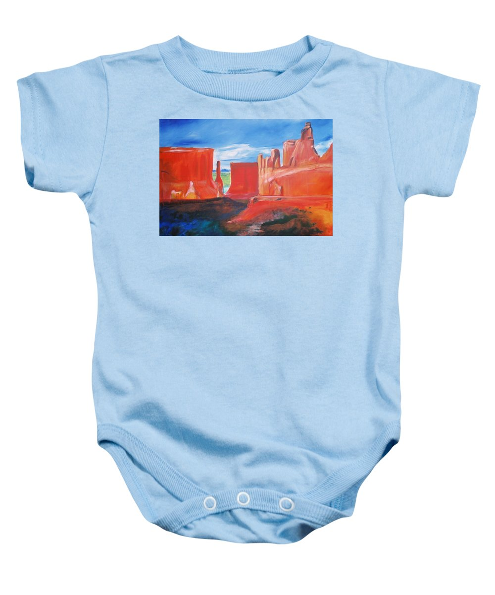 Floral Baby Onesie featuring the painting Monument Valley by Eric Schiabor