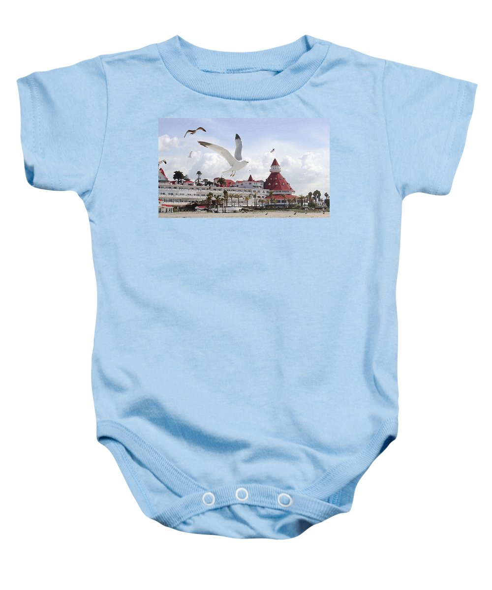 Beach Baby Onesie featuring the photograph Morning Gulls On Coronado by Margie Wildblood
