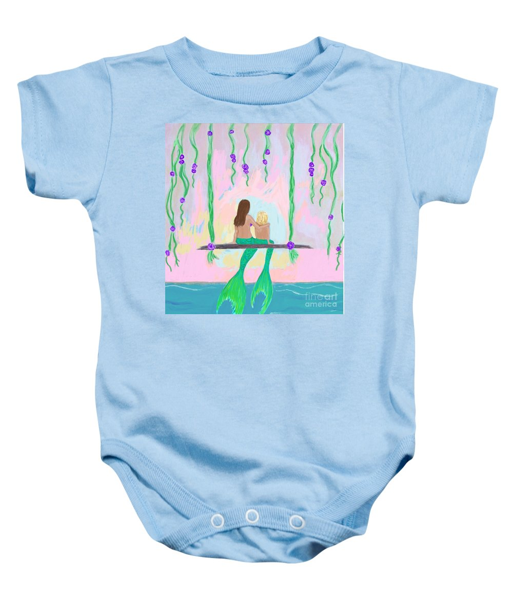 Mermaid Painting Baby Onesie featuring the painting Morning On The Swing by Leslie Allen