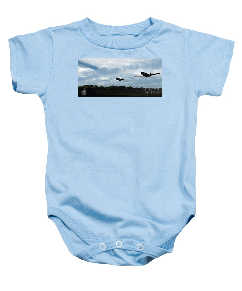Aircraft Baby Onesie featuring the digital art Morning Run by Richard Rizzo